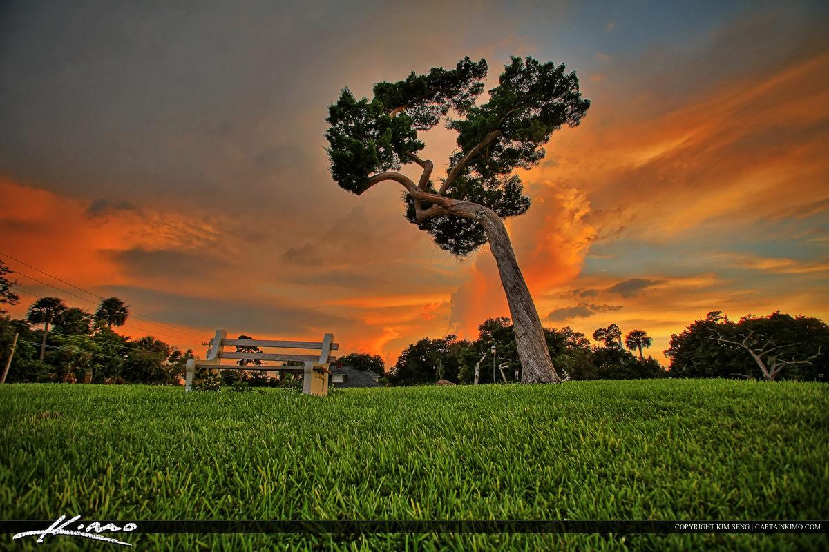 Sunset at Old Fort Park in New Smyrna Florida