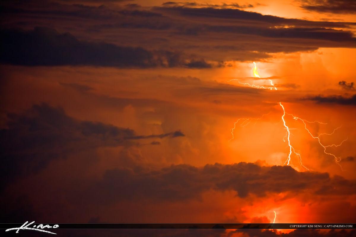 Lightning Storm Over Sea Jupiter Inlet Red Clouds
