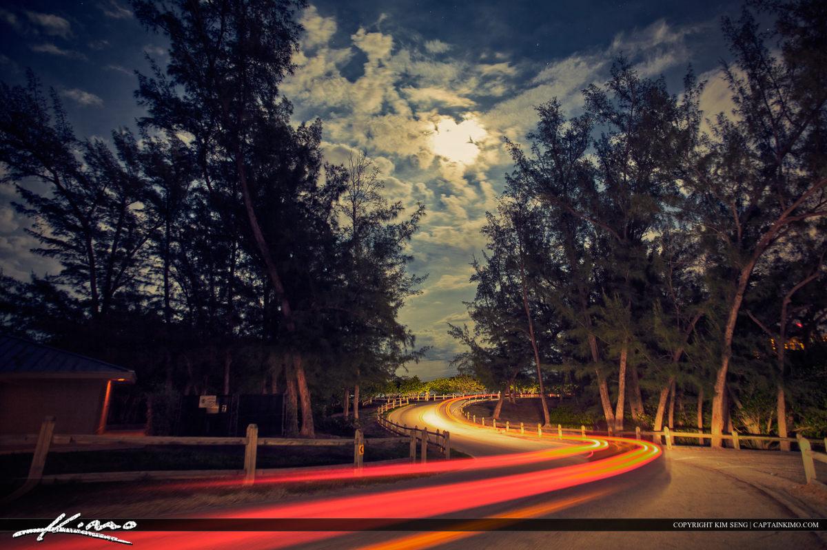 Jupiter Inlet Park Cury Road Under Moon Lit Night