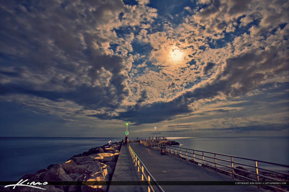 Jupiter Inlet Jetty Under Full Moon Light Nighttime