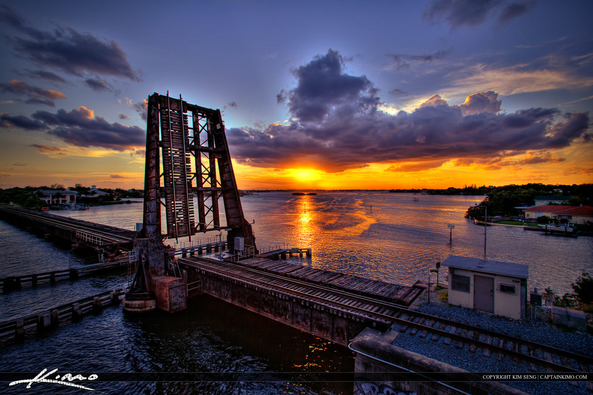 Rail Road Draw Bridge Sunset in Jupiter Florida
