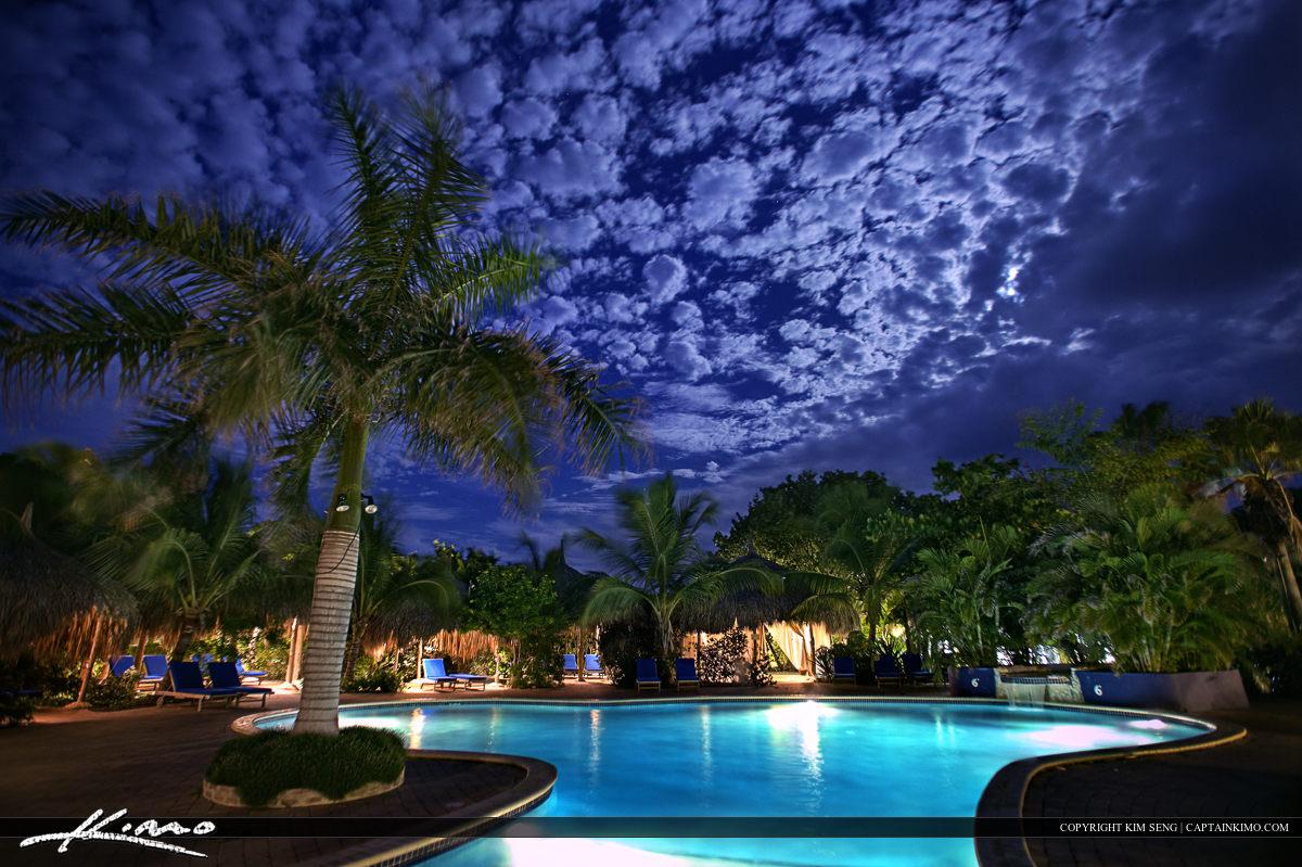 Pool Nighttime Curacoa Paradise Vacation