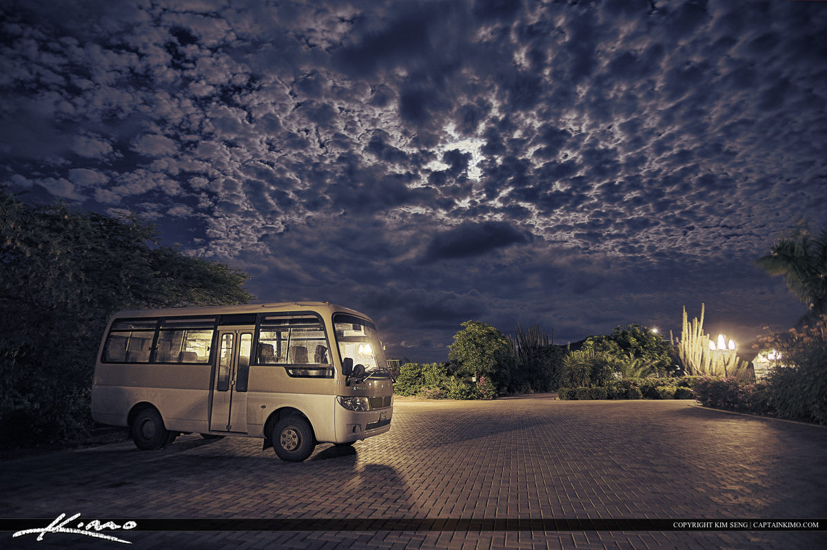 Curacao Island Tour Bus at Hotel Over Moon Lit Night