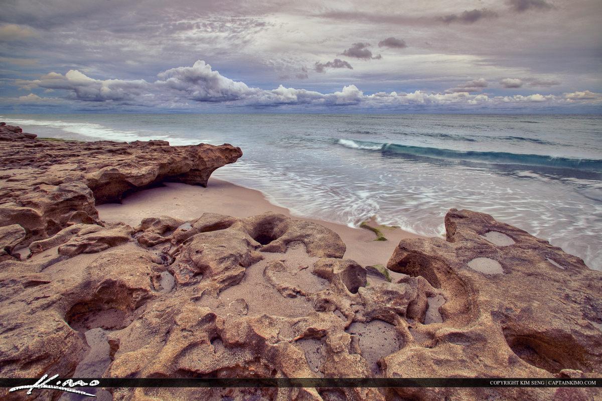Carlin Park Stormy Day Beach Jupiter Florida Beach Rocks