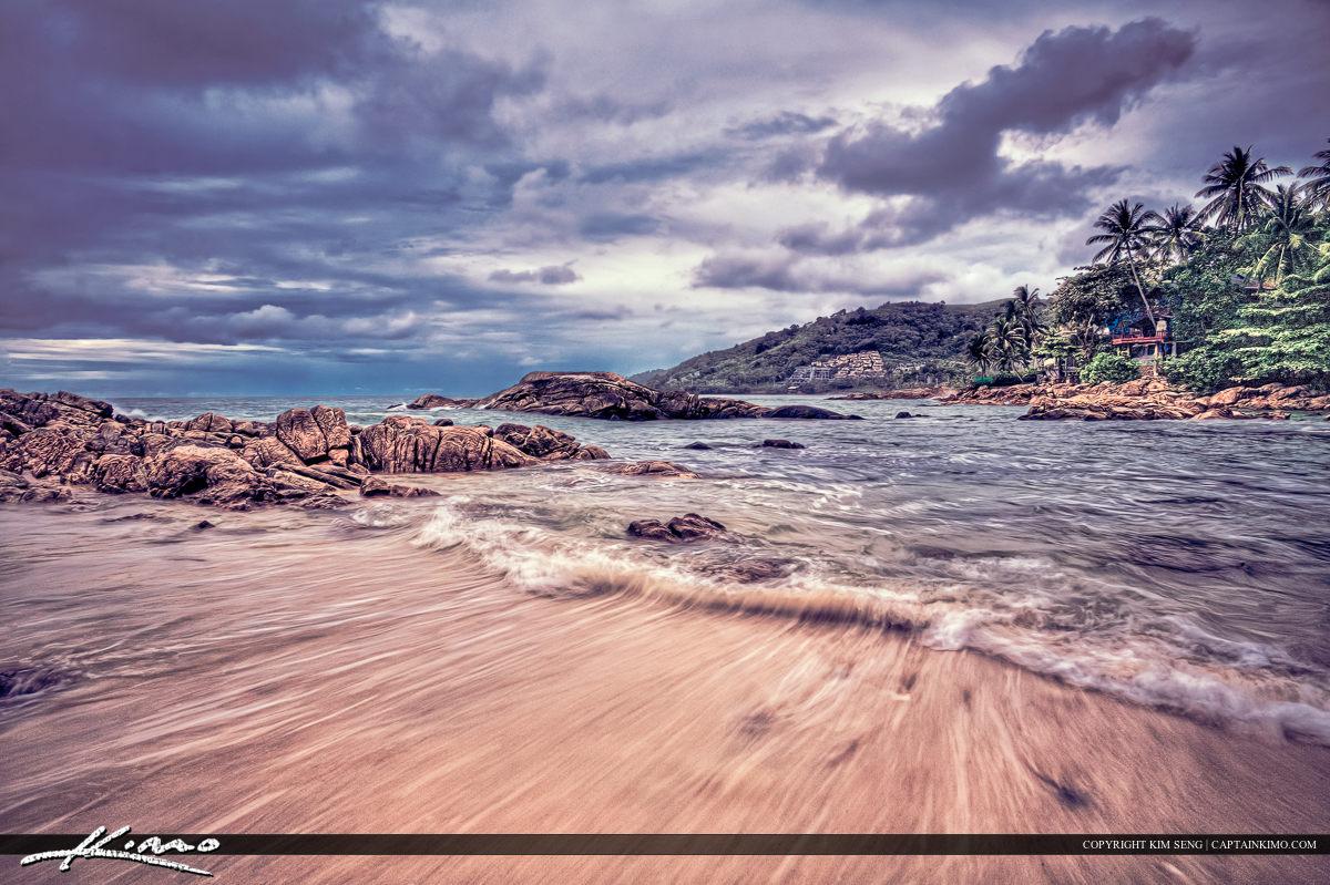 Phuket Thailand Beach Receding Wave Palm Tree Rock