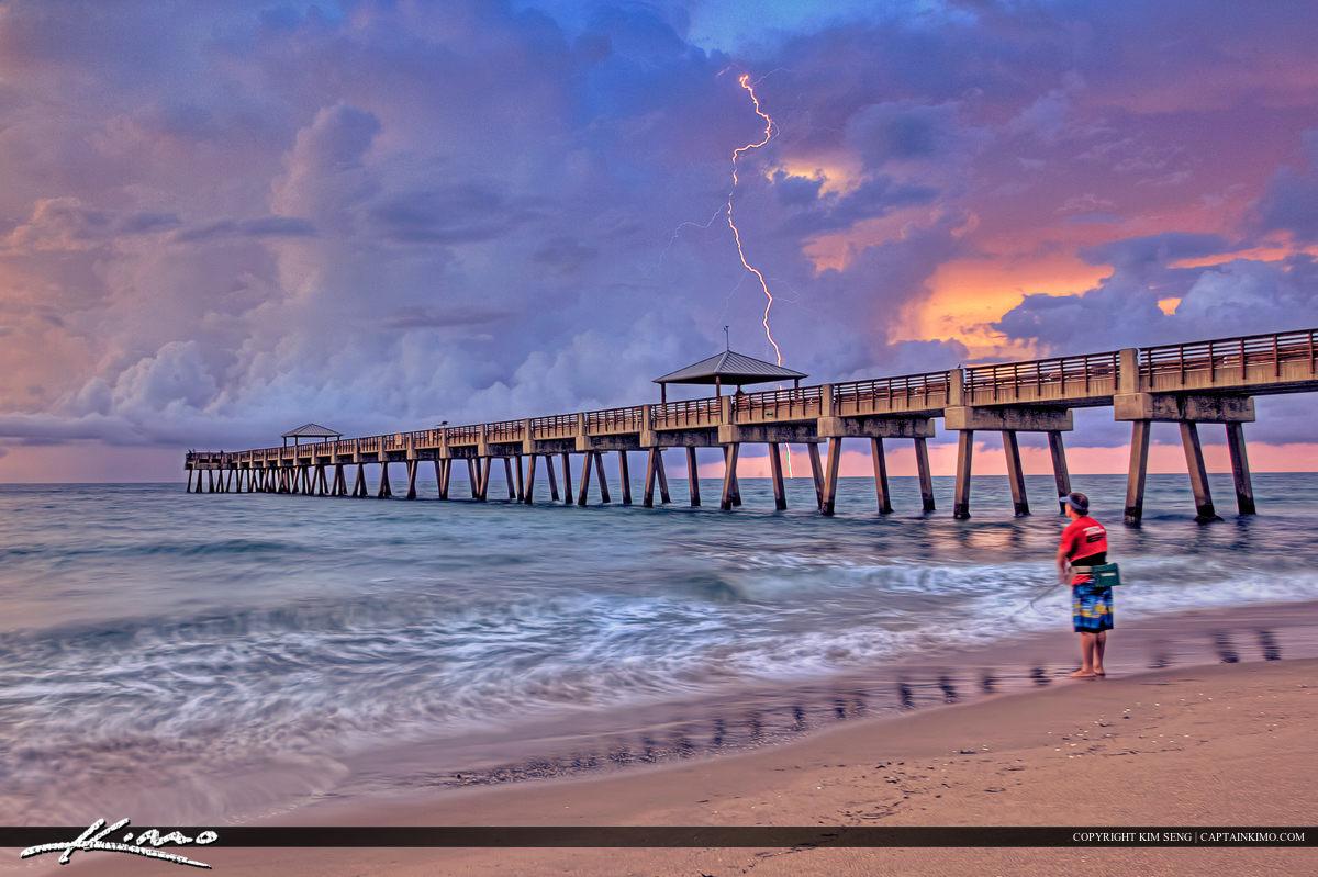 Juno Beach Pier Lightning Strike Beach Sunrise Fishing