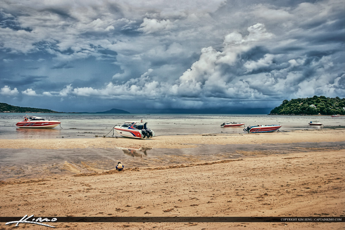 Low Tide Phuket Thailand Storm Boat Land Beach Sand