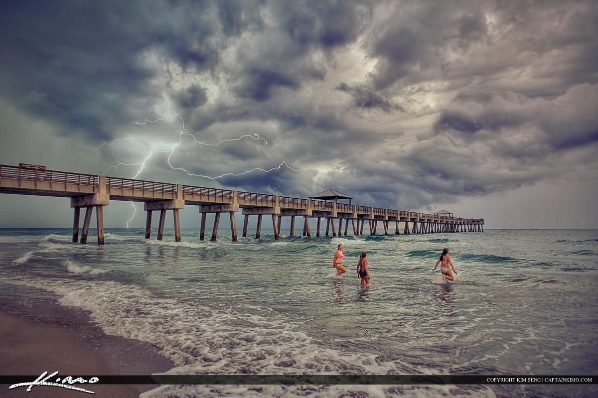 Juno Beach Pier Lightning Storm Ocean
