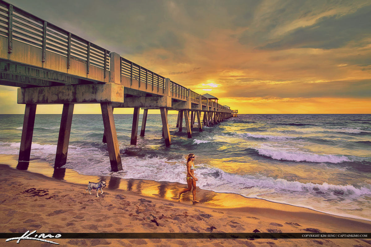 Juno Beach Pier Lady Walking Dog