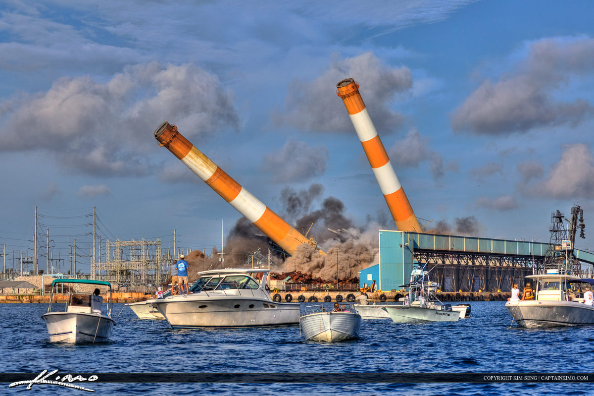 FPL Smoke Stack Explosion Power Plant Collapsing