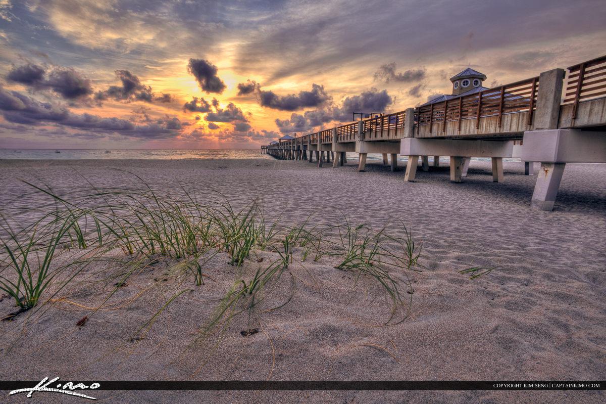 Juno Beach Pier Sunrise Sea Grass Beach Florida