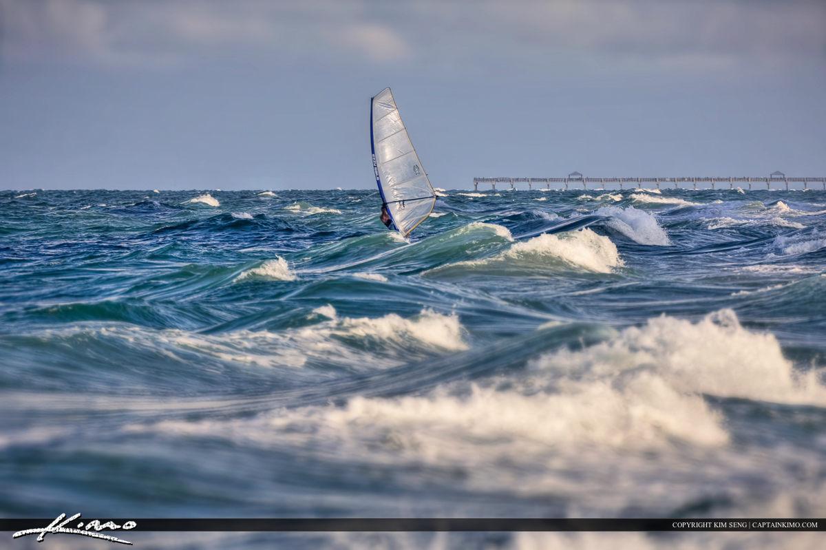 Wind Surfer Waves Jupiter Beach Riding Atlantic Ocean