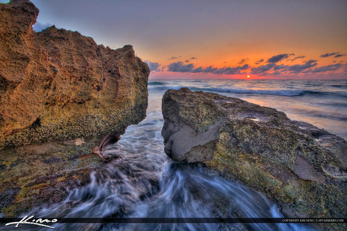 Coral Cove Park Jupiter Florida Sunrise Rock Ocean Waves