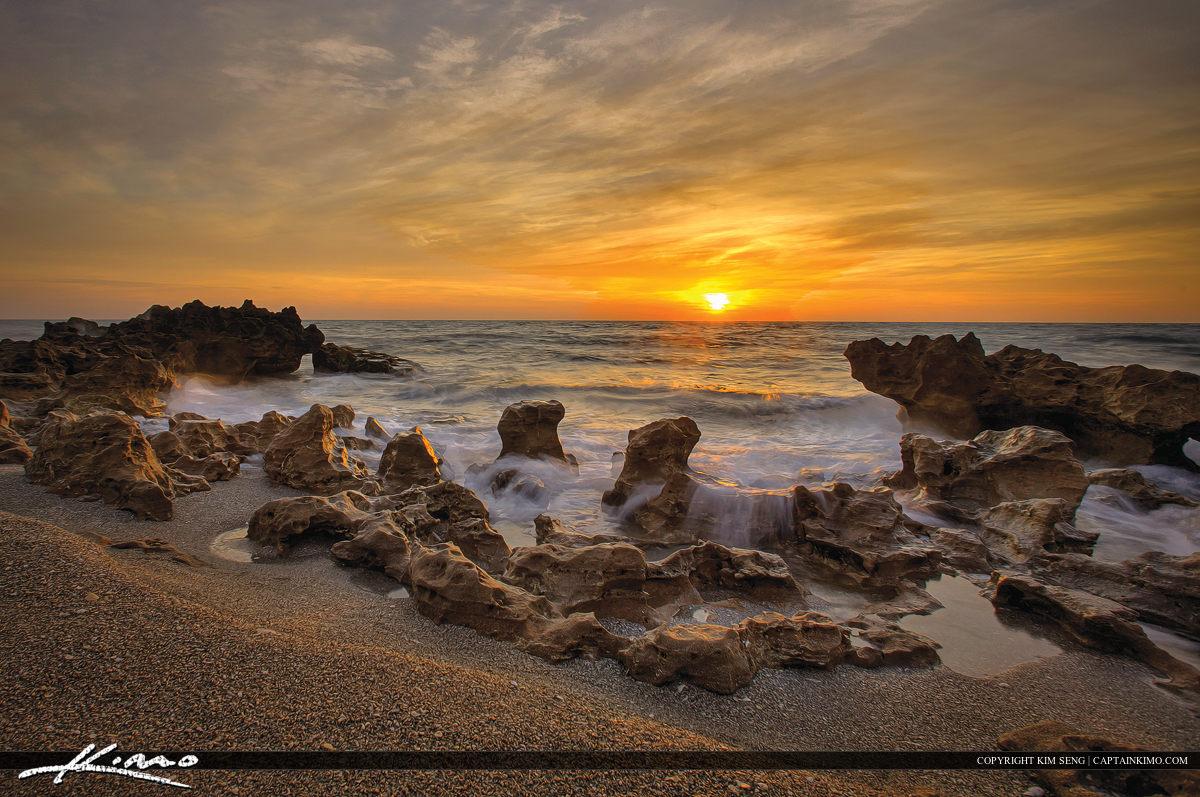 Coral Cove Park Beach Rock Sunrise Wave Motion