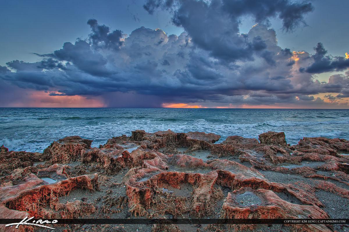 House of  Refuge Sunrise Storm Red Beach Rocks