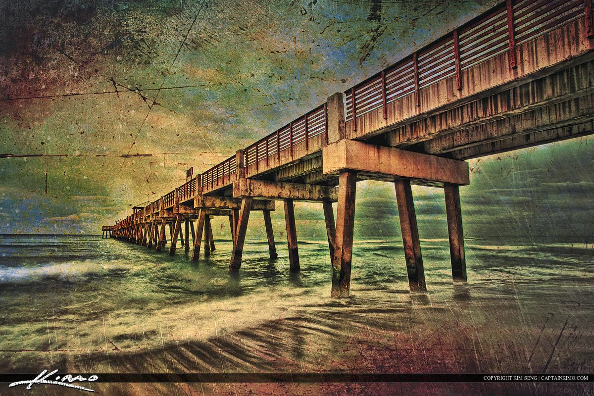 Juno Beach Pier Storm Texture Artwork Receeding Wave