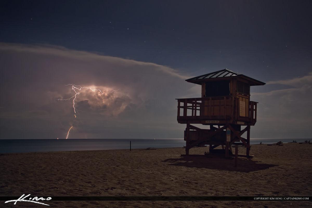 Lightning Storm Atlantic Ocean Beach Lifeguard Tower