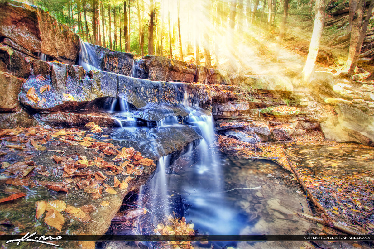 Shallow Falls Maryland Sunrays Waterfall Autumn Leaves