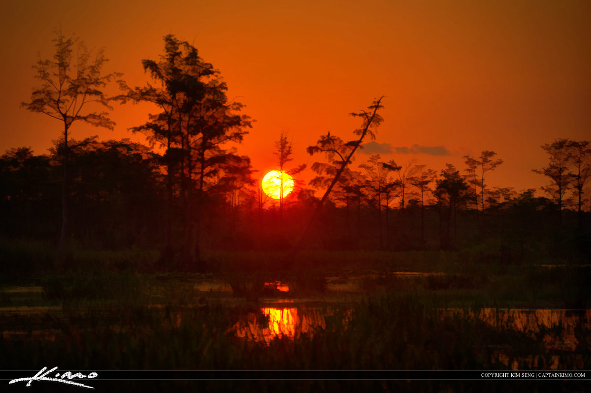 Sunset Over Wetlands Loxahatchee Slough Marsh
