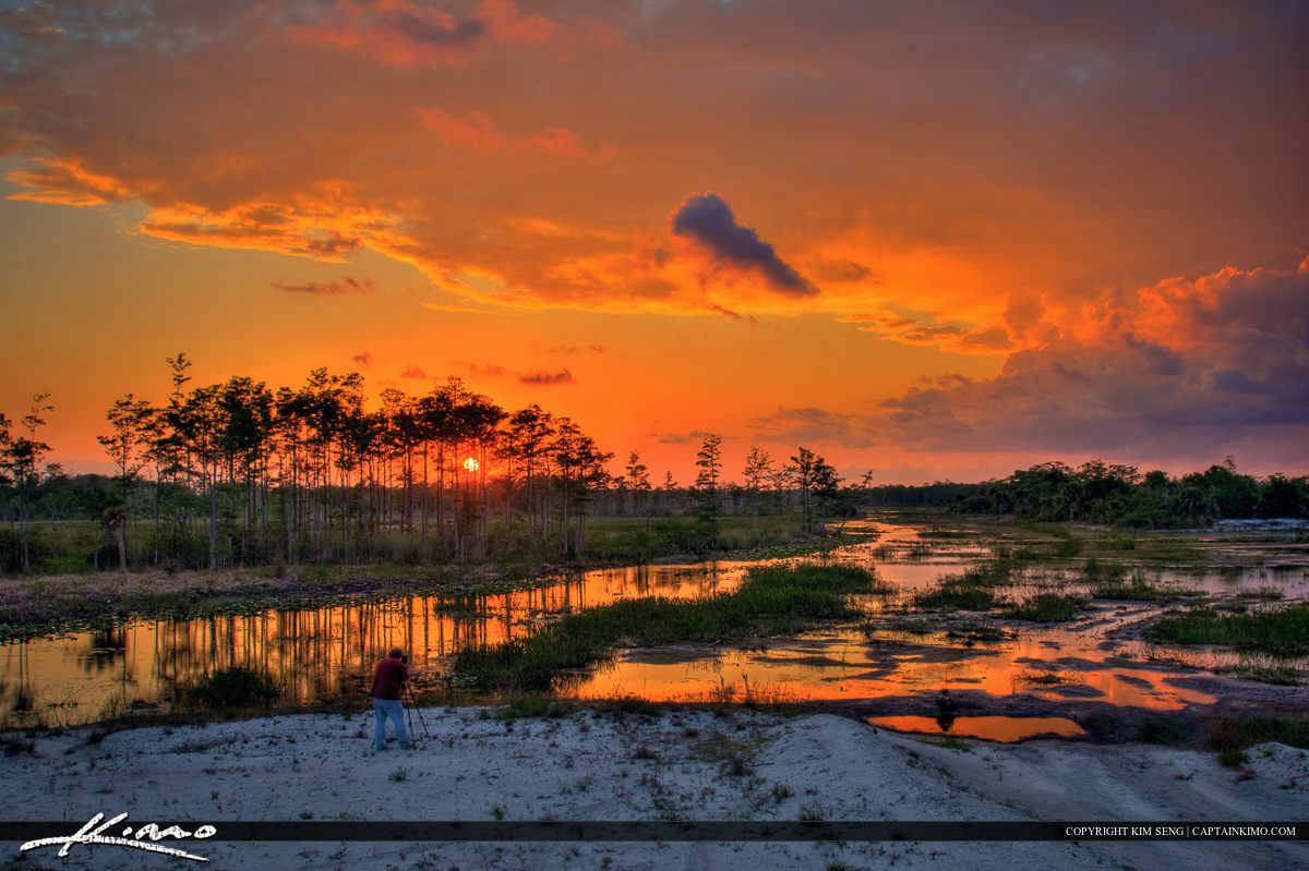 Loxatachee Slough Wetlands Florida Sunset