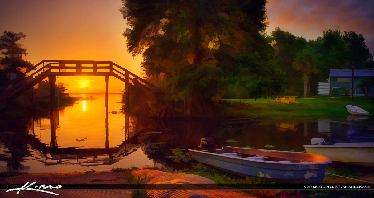 Blue Cypress Lake Sunrise at Boat Dock Marina