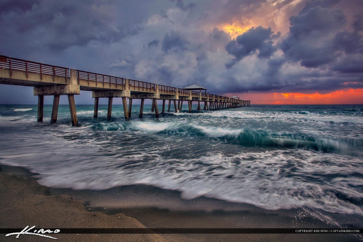Juno Beach Pier Sunrise Storm Breaking Wave