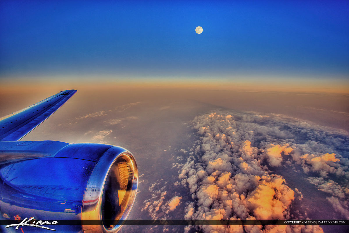 Airplane Window Fullmoon Clouds Flying Above Clouds