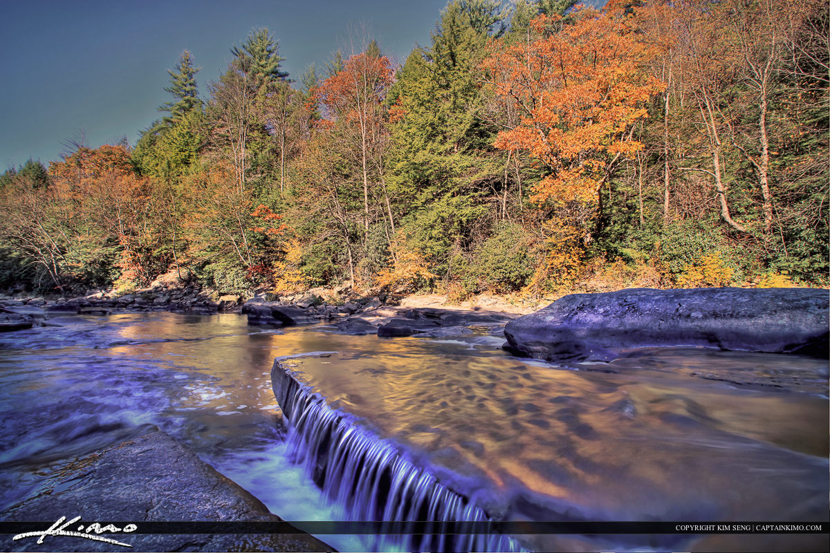 Swallow Falls Maryland Silky Smooth Water Autumn Leaves