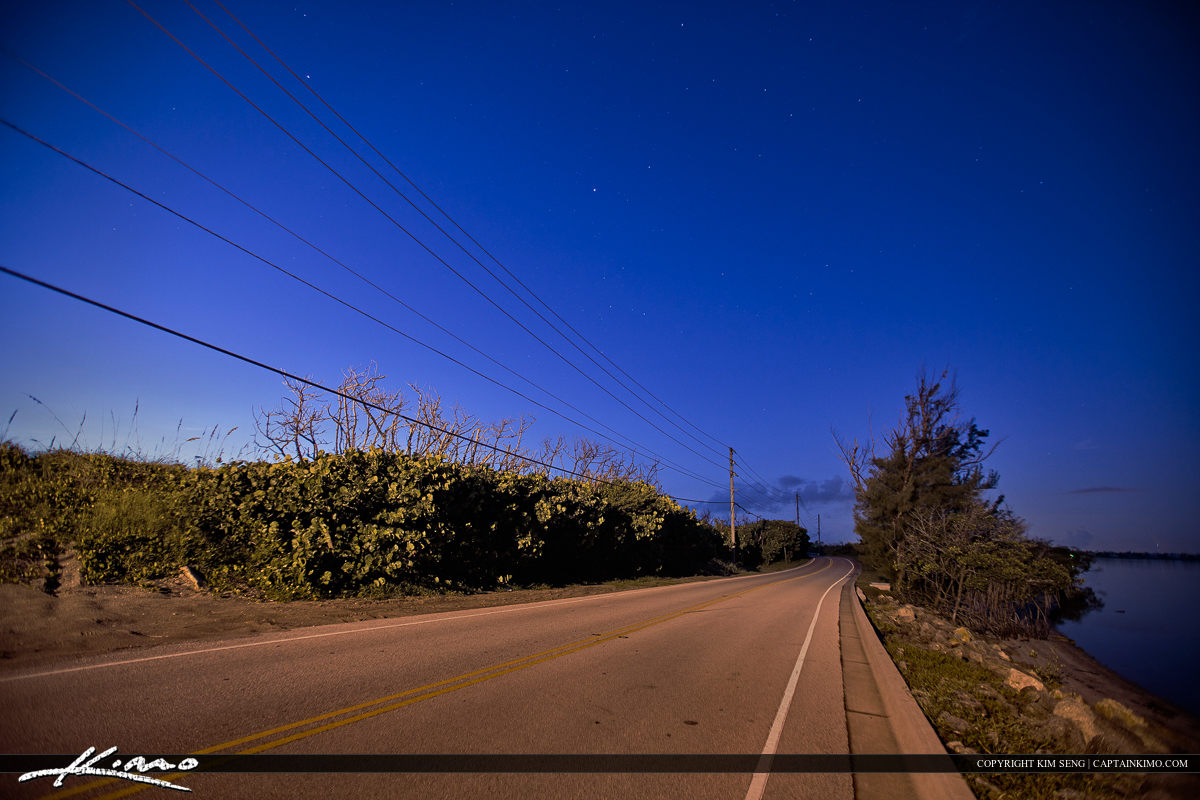Nighttime on the Road at Stuart Florida