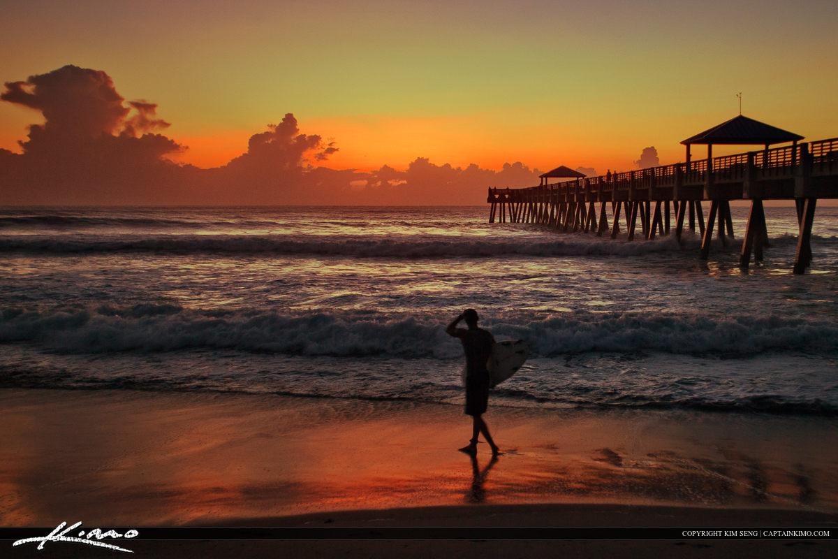 Surfer Ruff Wave Early Moring Sunrise Juno Pier