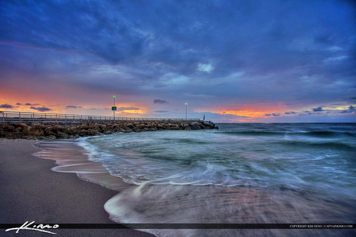 Jupiter Inlet Sunrise at Jetty Fisherman on Boardwalk