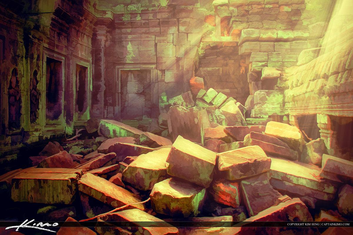 Cambodia Angkor Wat Ruins Artistic Sun Light