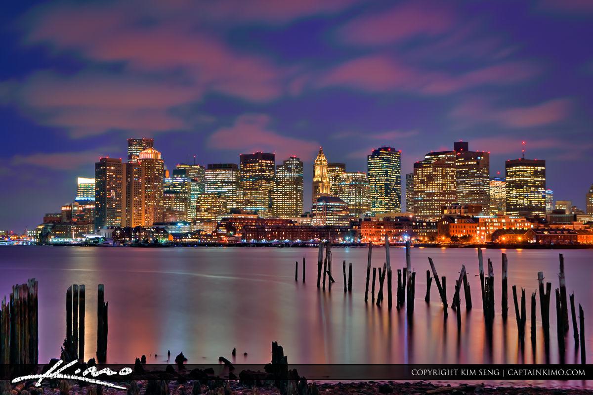 Boston Skyline City Buidlings Along the Bay