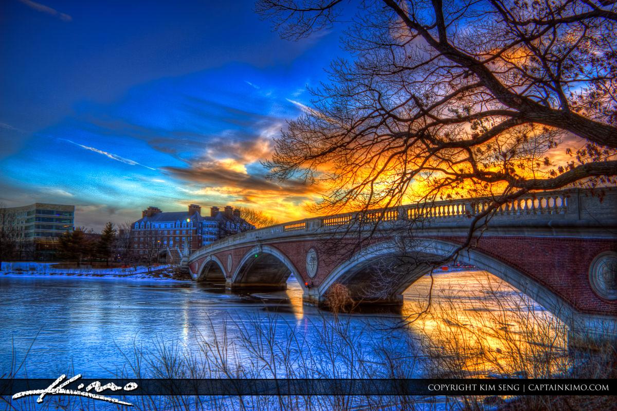 John Weeks Bridge Cambridge Massachusetts at Sunset