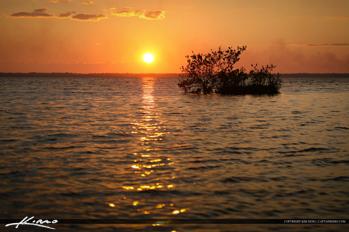 Fishing Spot Mosquito Lagoon Sunset Over Volusia County Florida