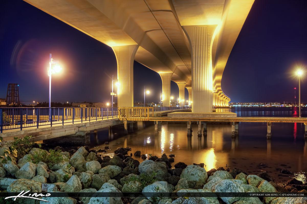 Roosevelt Bridge at Night St Lucie River Stuart Florida