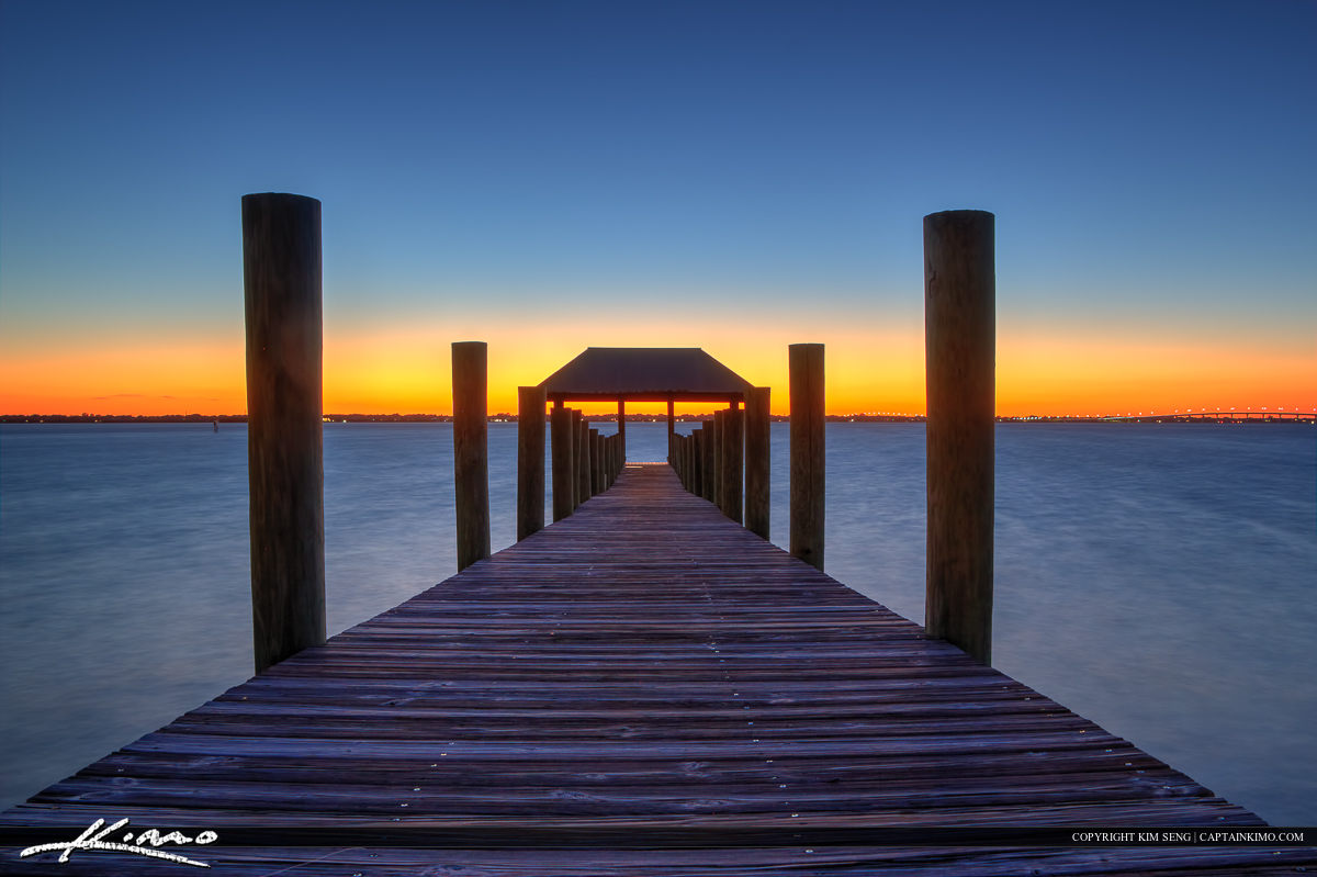 Dock on Lake at Sunset Hutchinson Island Florida
