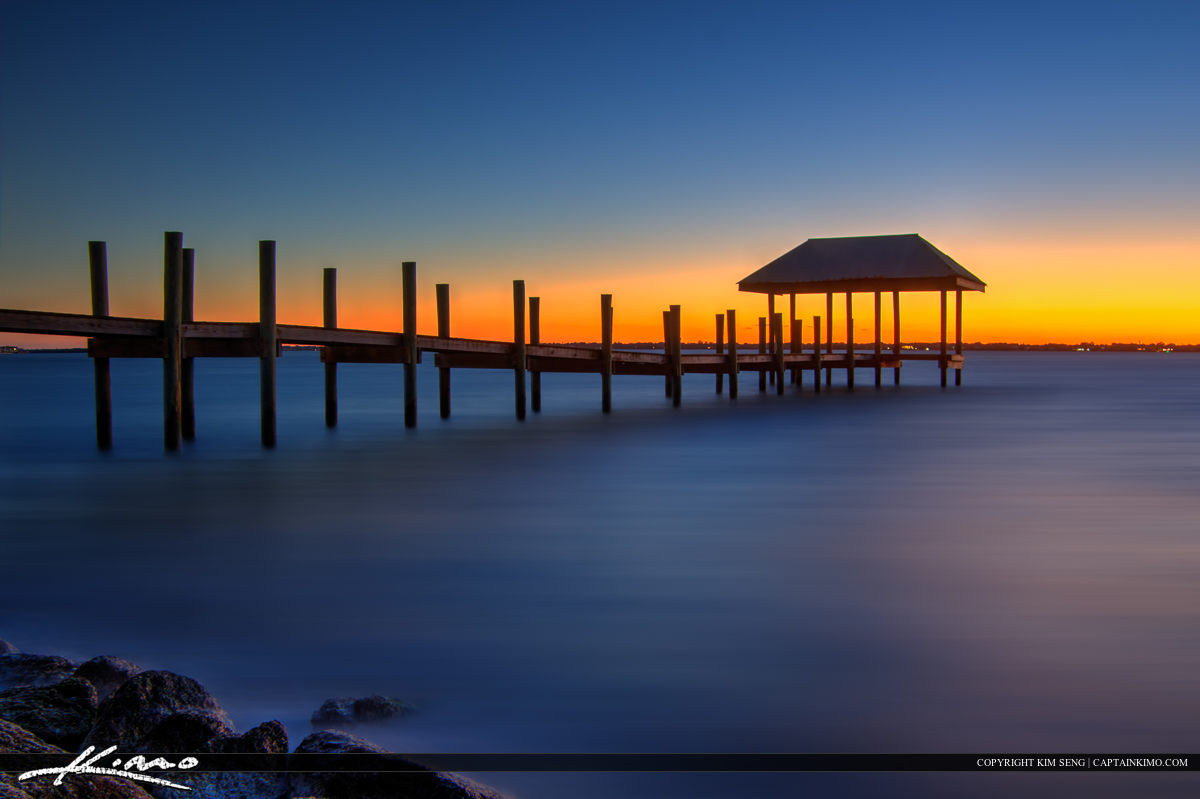 Lake Sunset Dock Hutchinson Island Florida