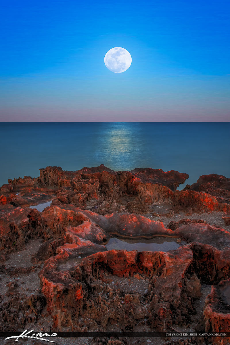 Moonrise Over the Rocks at the Refuge House Hutchinson Island