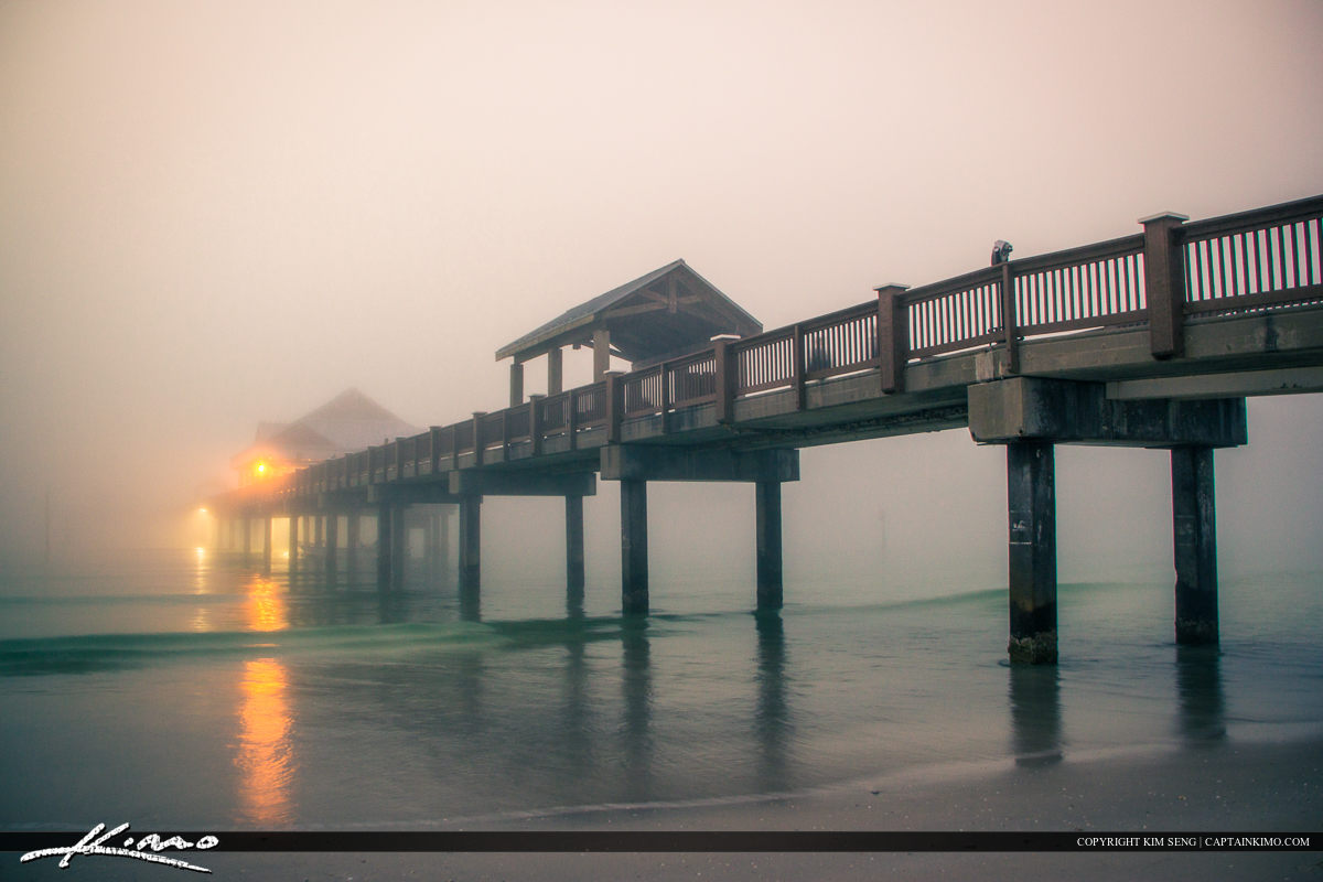 Foggy Sunset at Pier Clearwater Florida Pinellas County