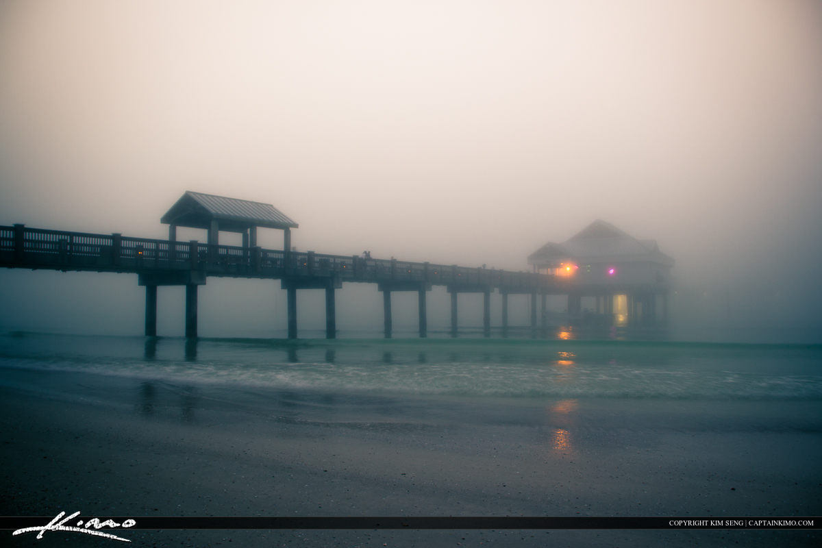 Clearwater Pier 60 Foggy Evening in Pinellas County Florida