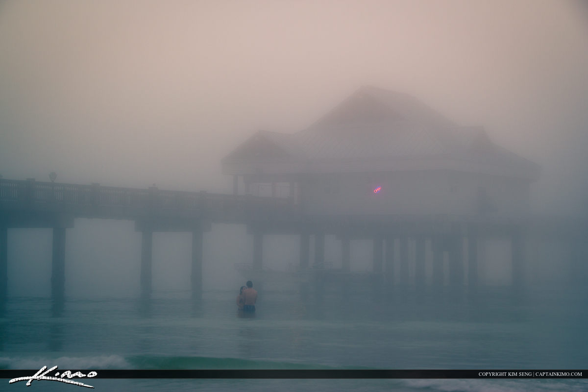 Couples in the Foggy Water at Clearwater Pier