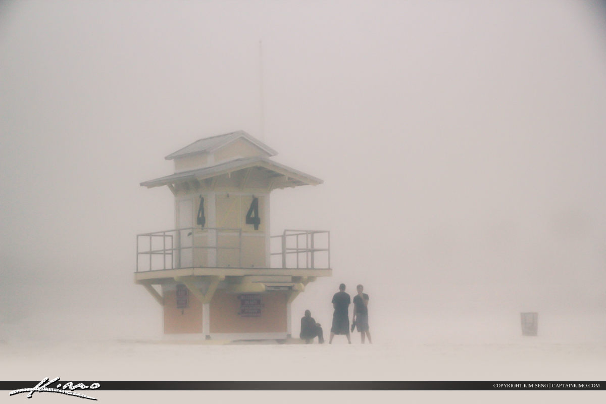 Lifeguard Tower at Beach Covered in Fog Clearwater
