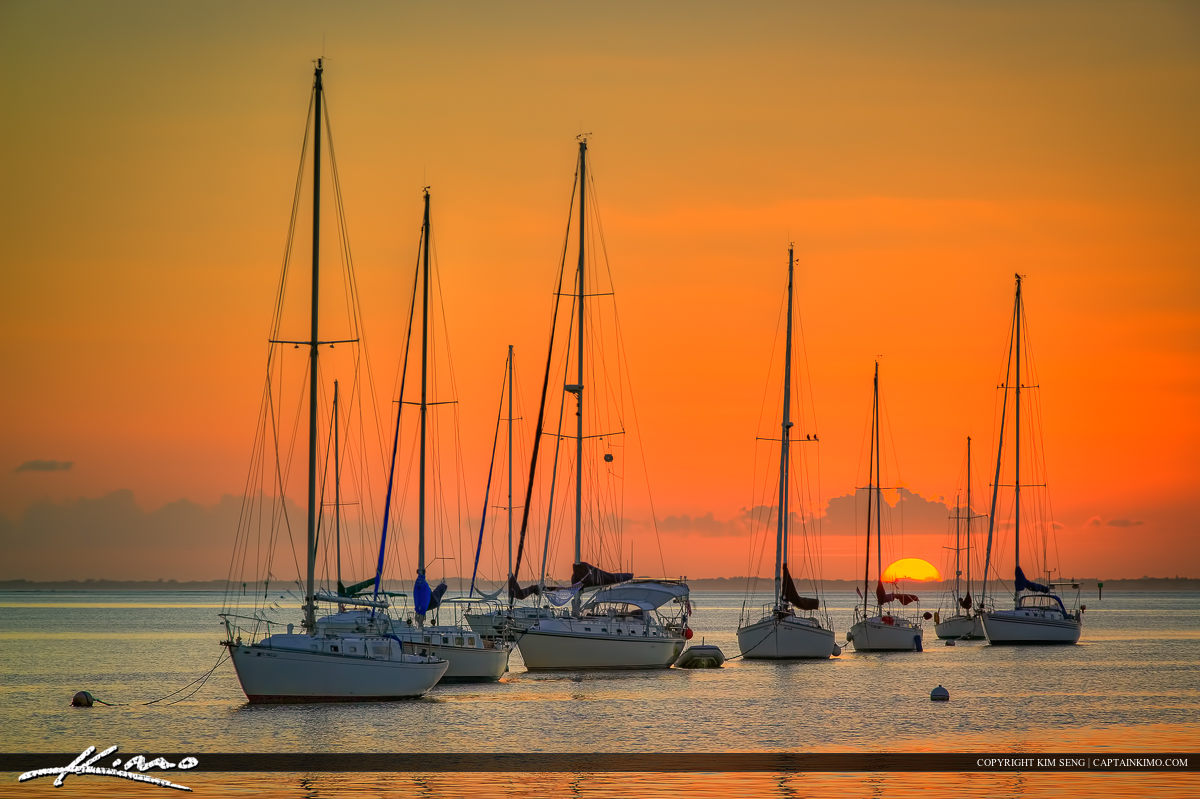 Sunset Over Biscayne Bay Sailboat Miami Florida