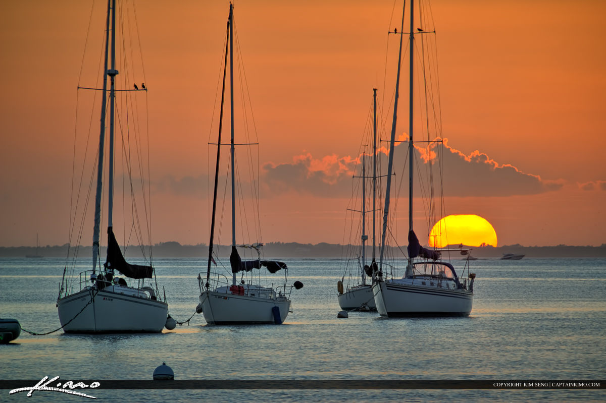 Sailboat Sunset at Biscayne Bay Crandon Park Marina