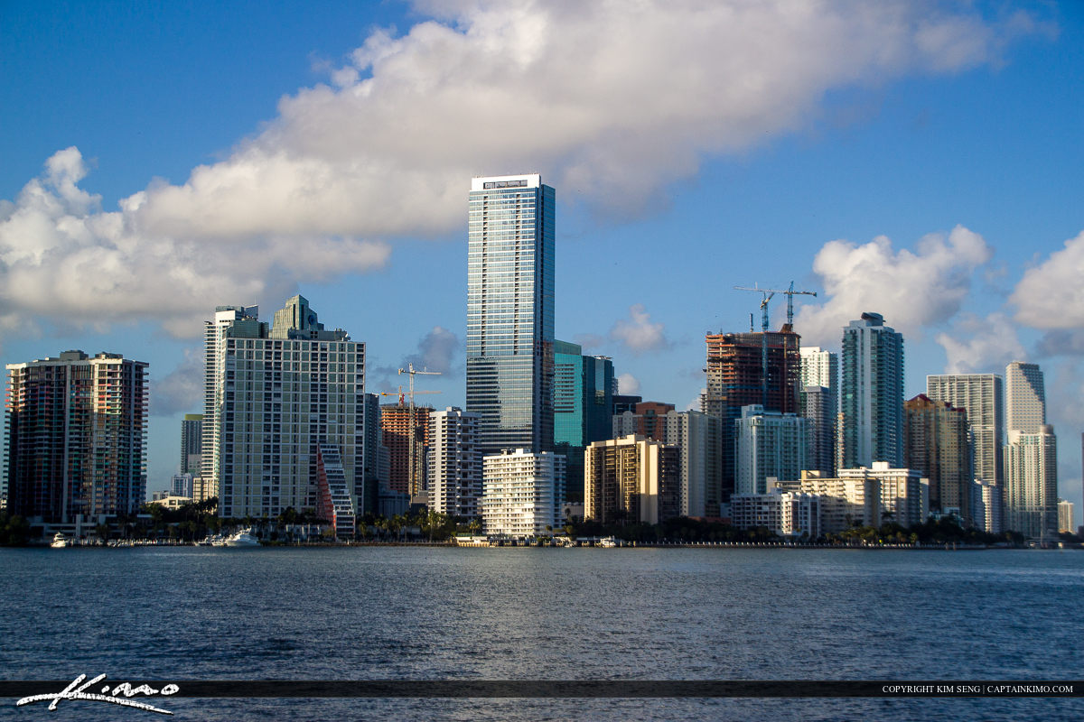 Miami Skyline Buidlings Blue Sky Clouds