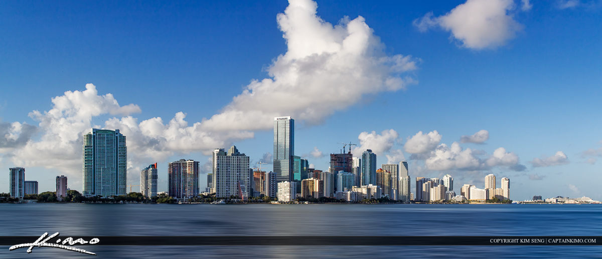 Miami City Skyline Panorama Blue Cloudy Day Miami-Dade County Fl