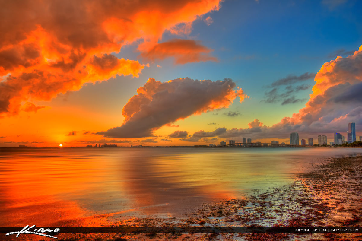 Miami Skyline Biscayne Bay Sunset