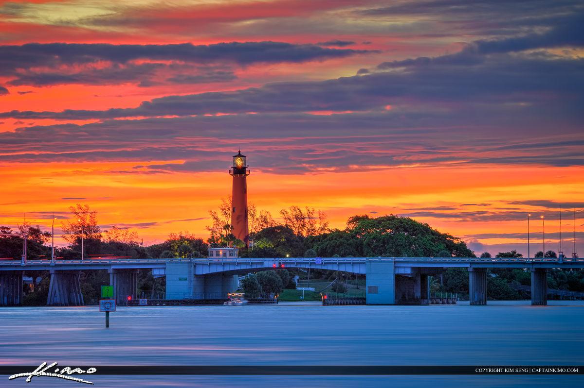 Lighthouse in Jupiter Florida During Beauitful Sunrise