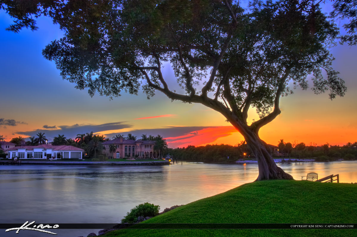 Waterfront Property Sunset Over Waterway